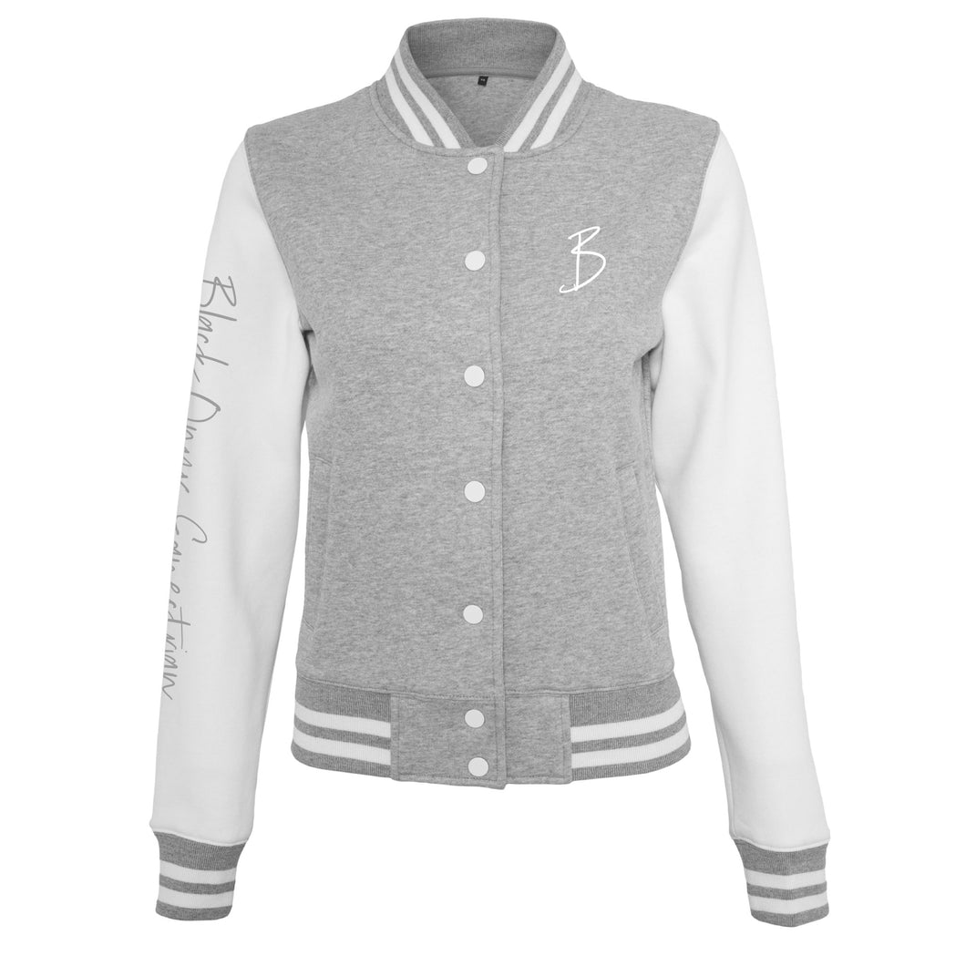 Ladies College Sweater Jacket - Grey & White