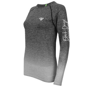 Ladies Long Sleeve Ombré Top - Grey