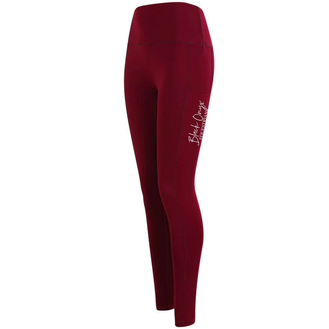 Ladies Pocket Leggings - Burgundy
