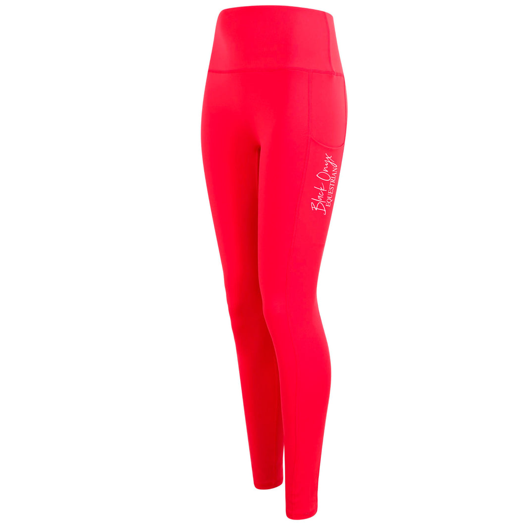 Ladies Pocket Leggings - Hot Coral