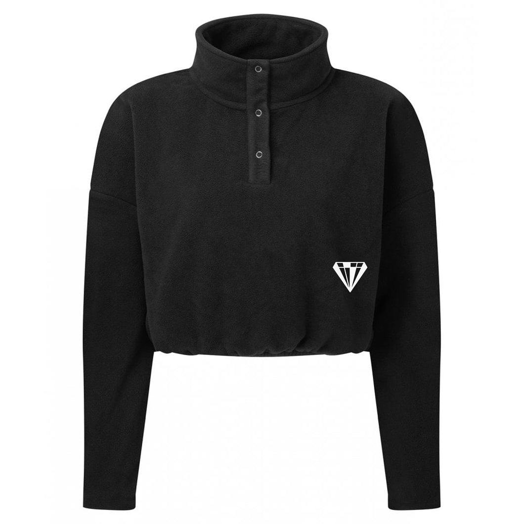Ladies Cropped Fleece - Black