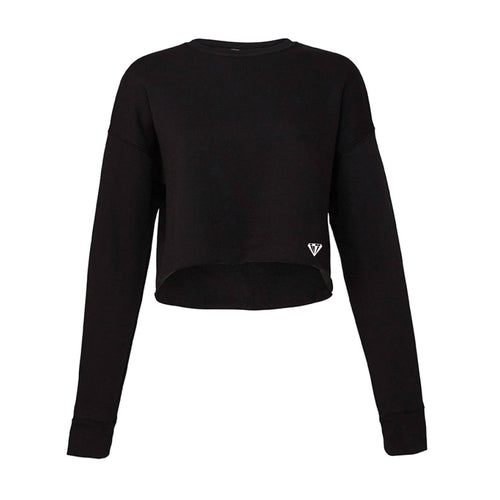 Ladies Cropped Crew Fleece - Black