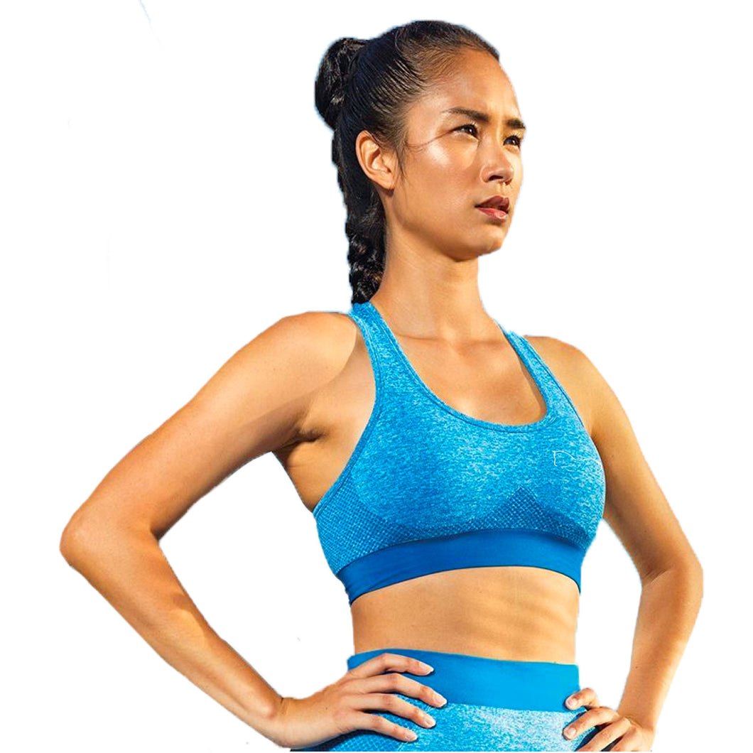 Seamless 3D Sculpt Sports Bra - Blue