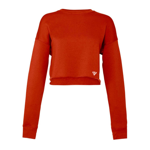 Ladies Cropped Crew Fleece - Brick