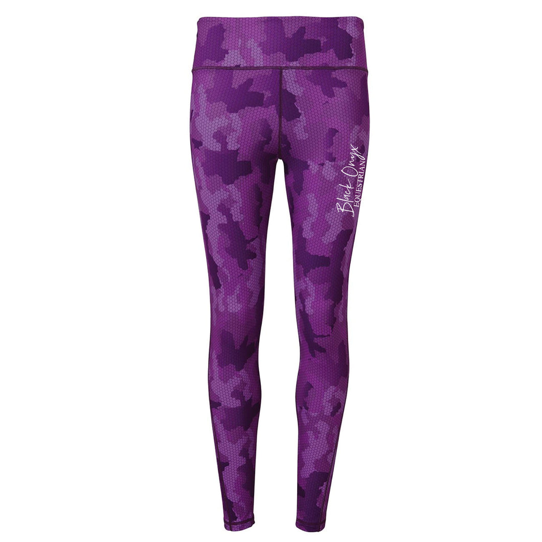 Ladies Camo Print Mucker Leggings - Purple