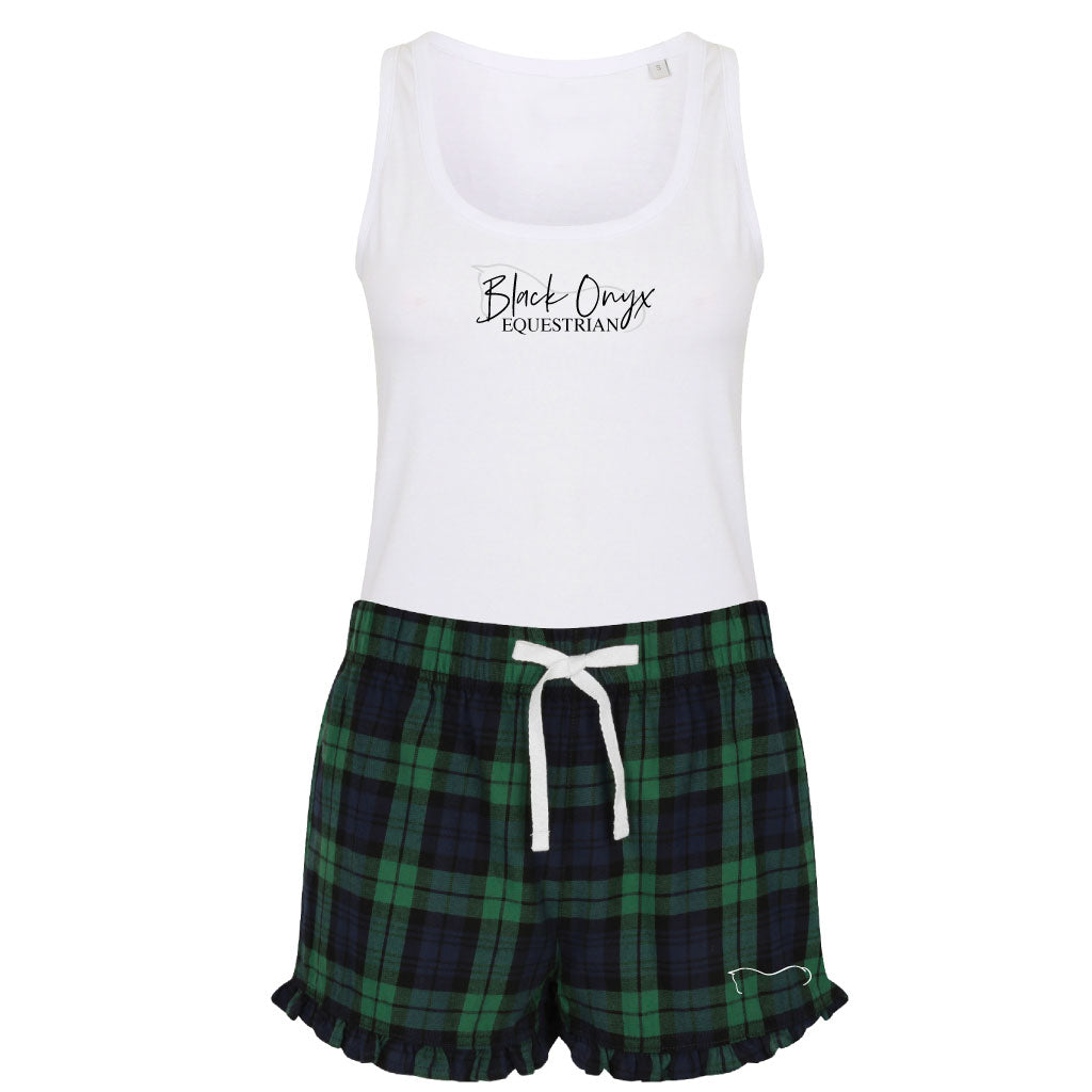Ladies Tartan Frill Lounge Wear Set - Green
