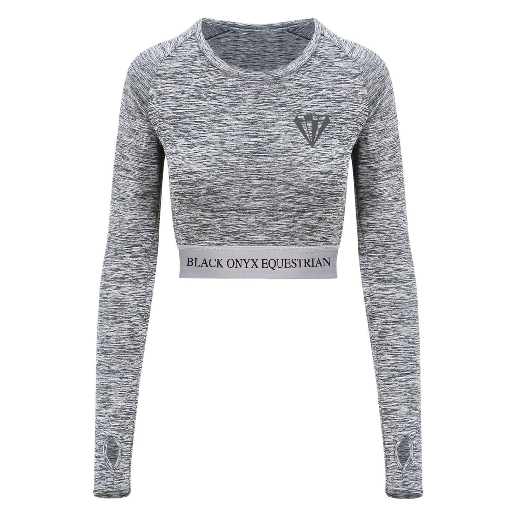 Ladies Diamond Long Sleeve Crop Top - Grey