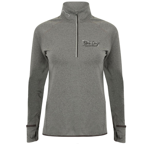 Ladies Performance Zip Up Base Layer - Grey