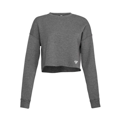 Ladies Cropped Crew Fleece - Deep Heather