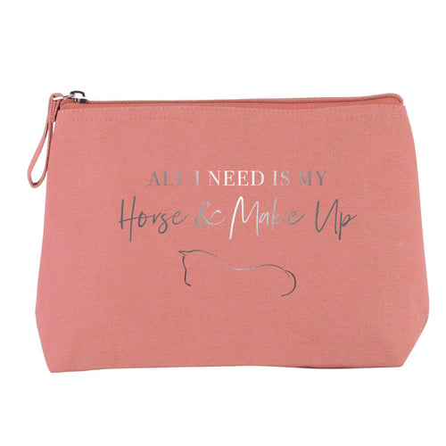 Horse & Make Up Cosmetic Bag - Dusty Pink