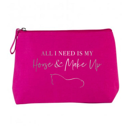 Horse & Make Up Cosmetic Bag - Hot Pink