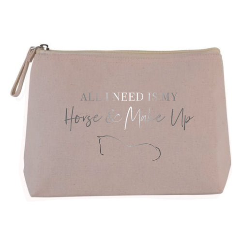 Horse & Make Up Cosmetic Bag - Natural