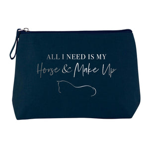Horse & Make Up Cosmetic Bag - Navy