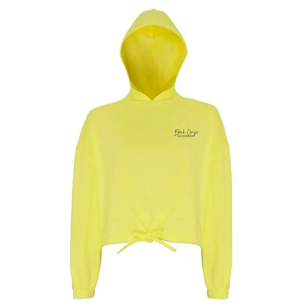 Ladies Oversize Cropped Tie Hoodie - Lemon