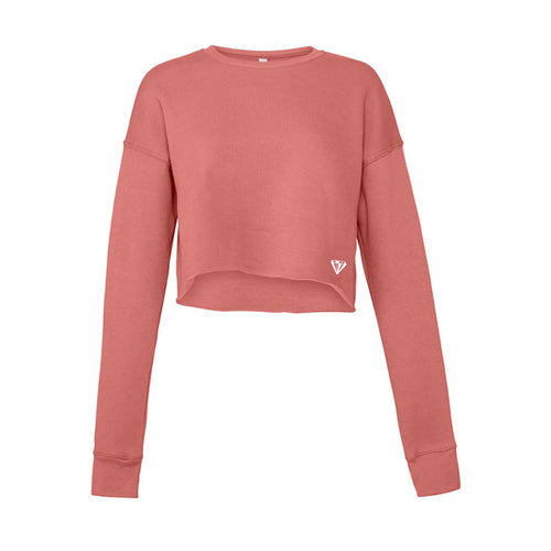 Ladies Cropped Crew Fleece - Mauve