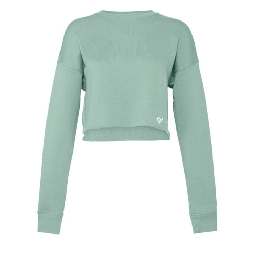 Ladies Cropped Crew Fleece - Dusty Blue