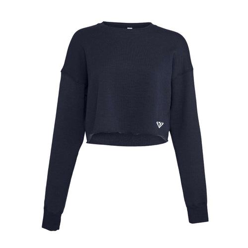 Ladies Cropped Crew Fleece - Navy