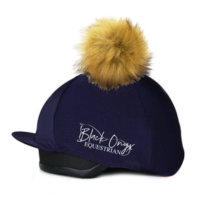 Faux Fur Pom Pom Hat Silk Cover - Navy