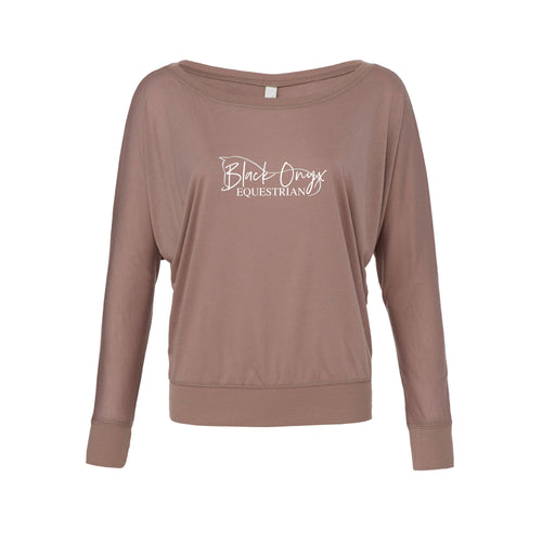 Ladies Flowy Long Sleeve Top - Pebble Brown