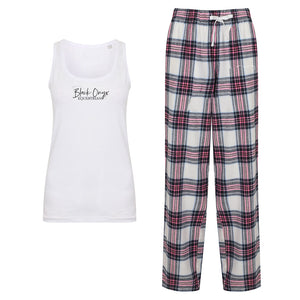 Ladies Tartan Pants Lounge Wear Set - Pink