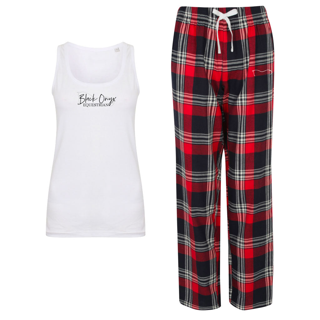 Ladies Tartan Pants Lounge Wear Set - Red
