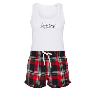 Ladies Tartan Frill Lounge Wear Set - Red