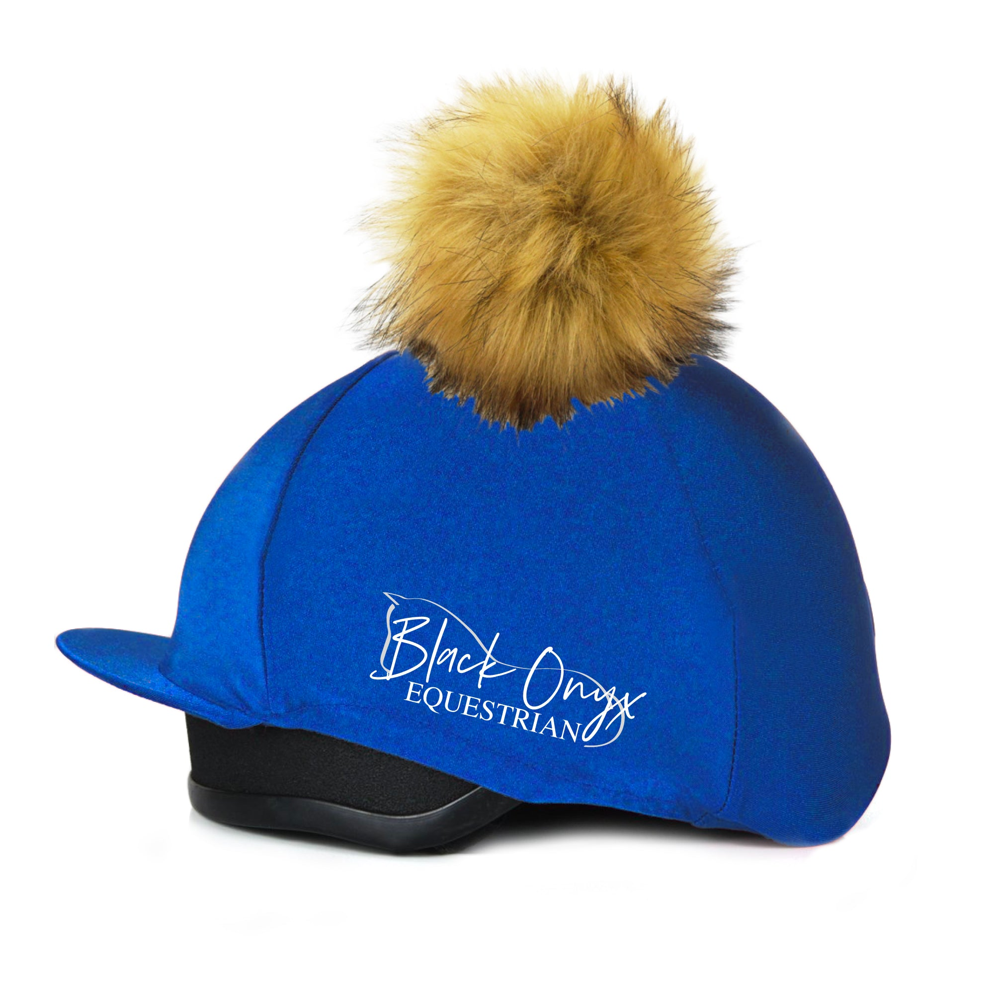 Faux Fur Pom Pom Hat Silk Cover - Royal Blue – Black Onyx Equestrian f24fbe7e89d