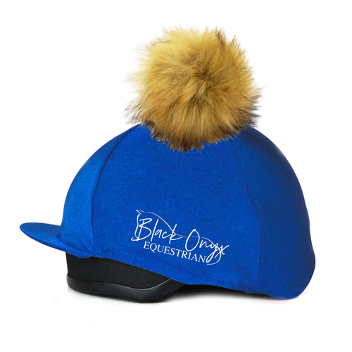 Faux Fur Pom Pom Hat Silk Cover - Royal Blue