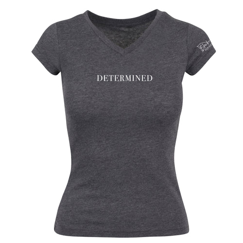 Ladies Determined V-Neck T-Shirt - Charcoal