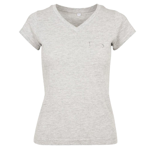 Ladies Classic V-Neck Metallic T-Shirt - Grey