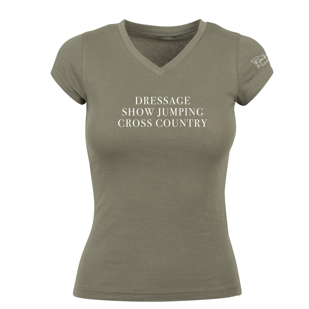 Ladies Eventing V-Neck T-Shirt - Khaki