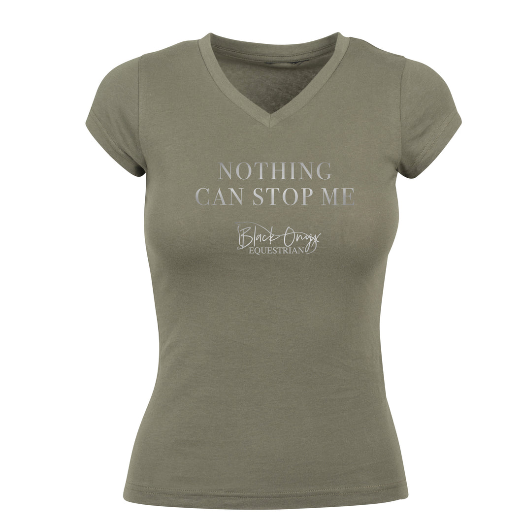 Ladies V-Neck Metallic 'Nothing Can Stop Me' T-Shirt - Khaki