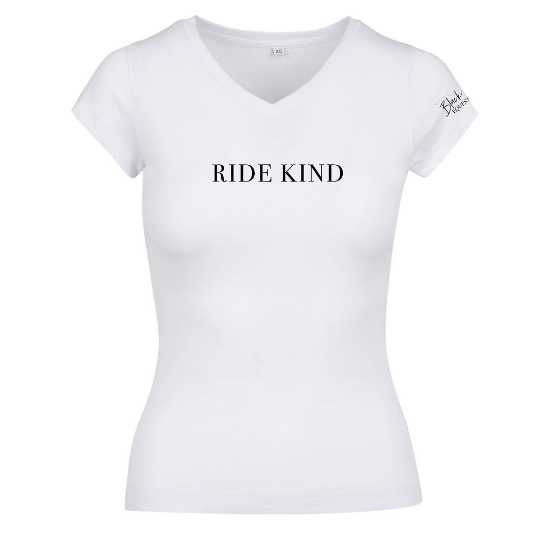 Ladies Ride Kind V-Neck T-Shirt - White