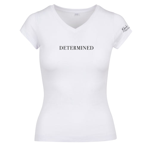 Ladies Determined V-Neck T-Shirt - White