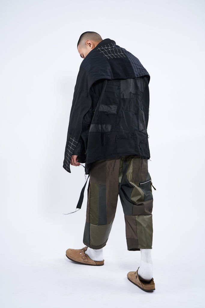 dislocated patchwork pant olive