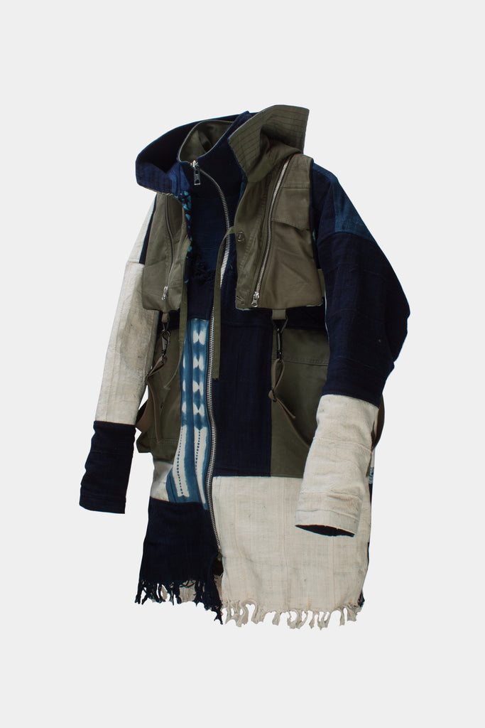 tired x latre reversible patchwork jacket