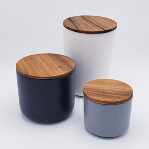 Stoneware Container with Acacia Wood Lid - Medium