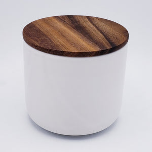 Stoneware Container with Acacia Wood Lid - Large