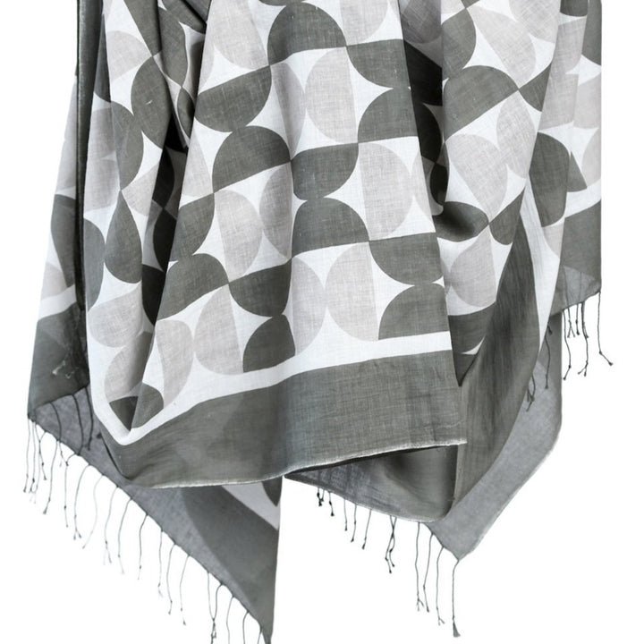 Cotton Scarf - Gray Circles