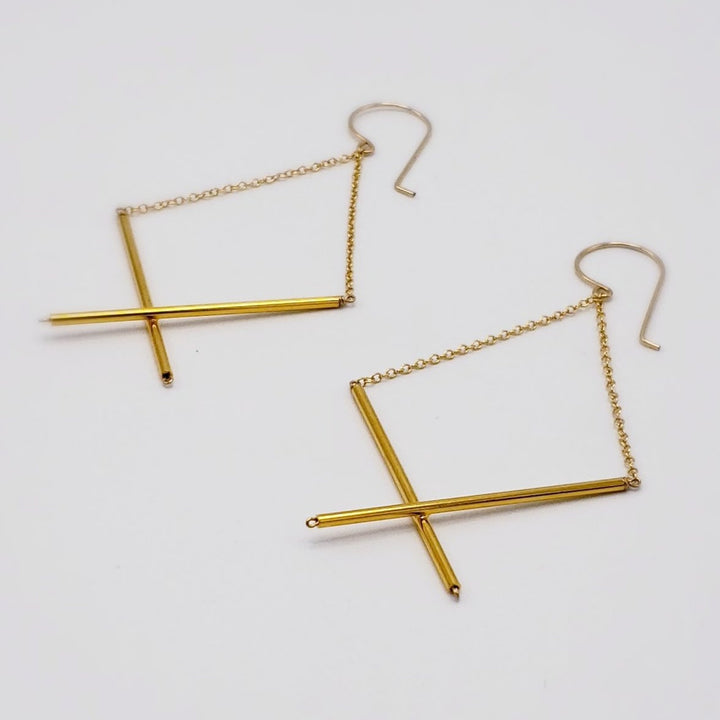 Golden X Dangle Earrings