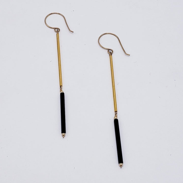 Gold & Black Glass Bead Earrings