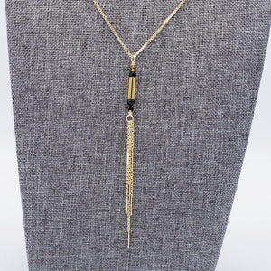 Golden Tassel Necklace with Tiger Eye