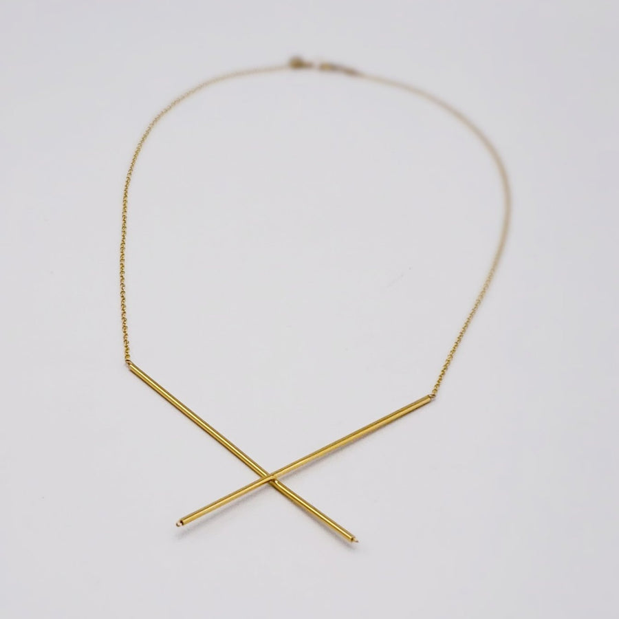 Thin Golden X Necklace