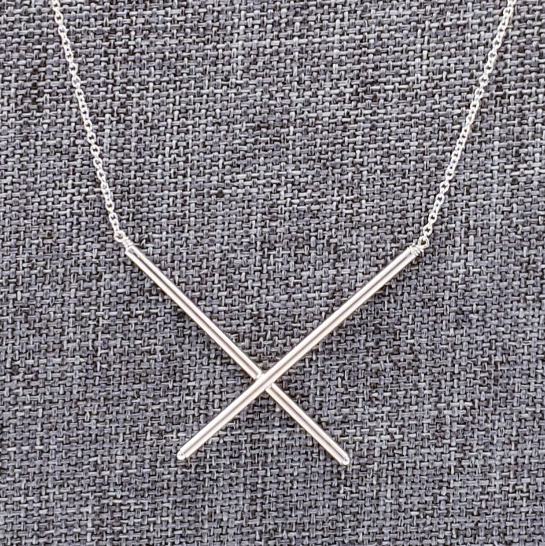 "Tiny Silver X Necklace - 18"" Chain"