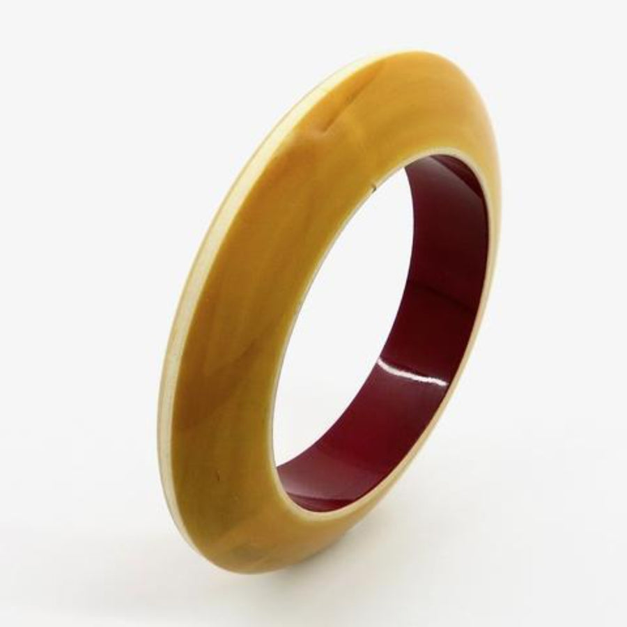 Lacquer Wood Bangle - Convex Narrow
