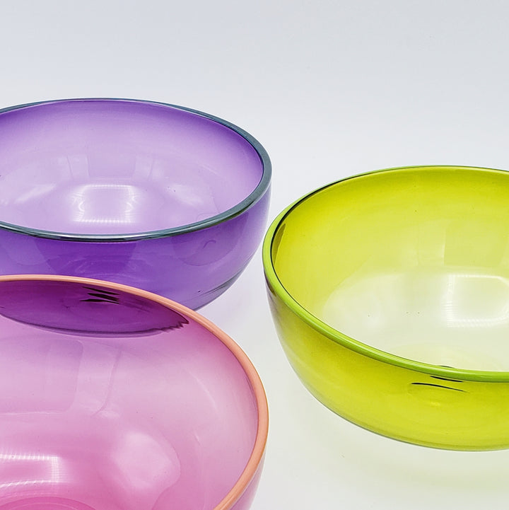 Handblown Glass Bowl - Contrasting Rim