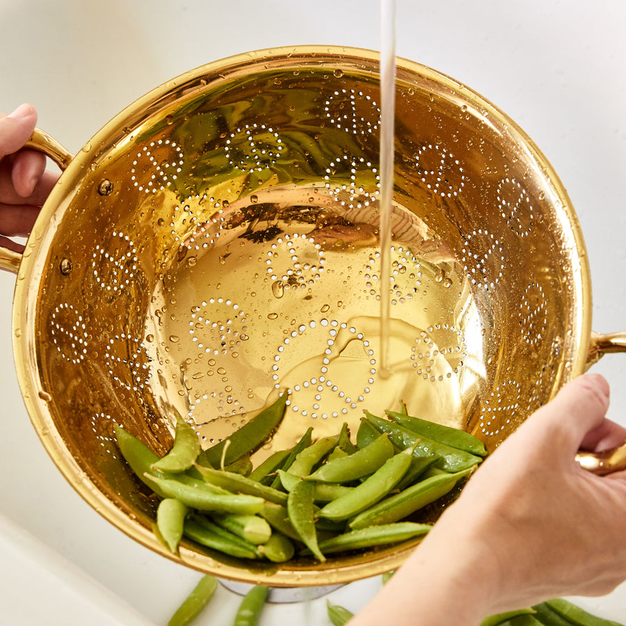Peace Sign Brass Colander