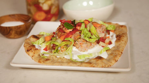 Turkey Meatball Naan'wich with Yogurt and Pickled Vegetables