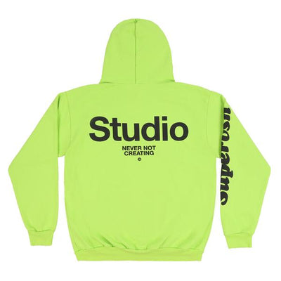 "LIME GREEN HOODIE ""STUDIO"" ON BACK"