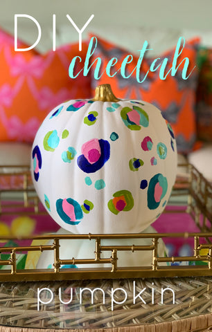 Painted faux pumpkin, colorful cheetah spots